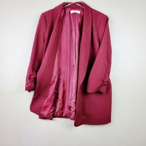 Sexy Collard Open Front Ruched Sleeve Red Blazer